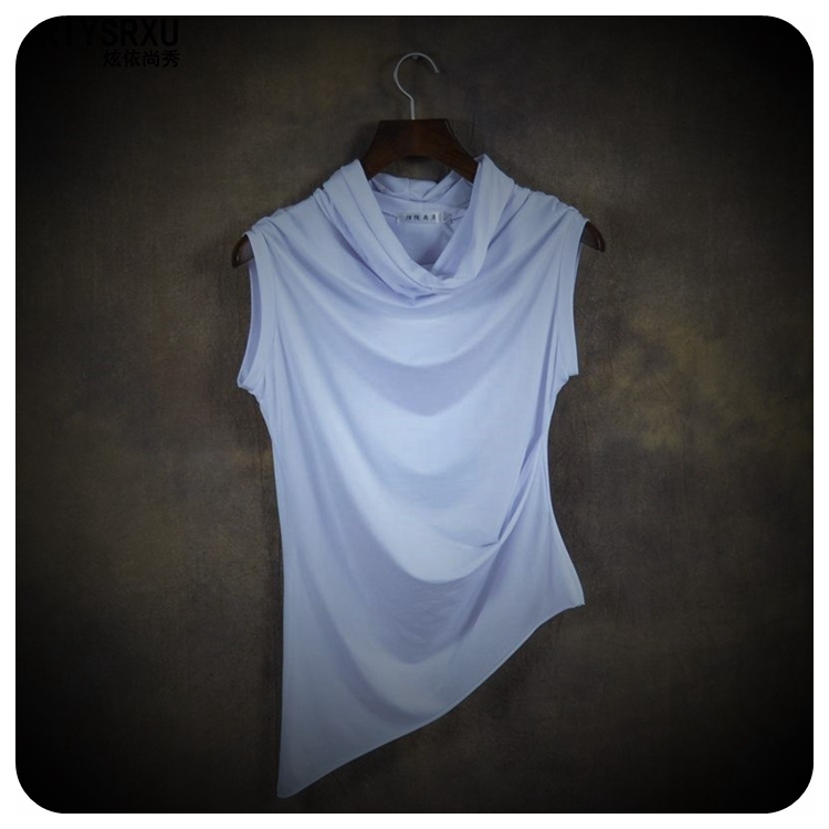 In-Summer-of-Cultivate-Morality-Sleeveless-Vest-High-Collar-Short-Sleeve-T-Shirt-Asymmetric-Clothes--32362339144