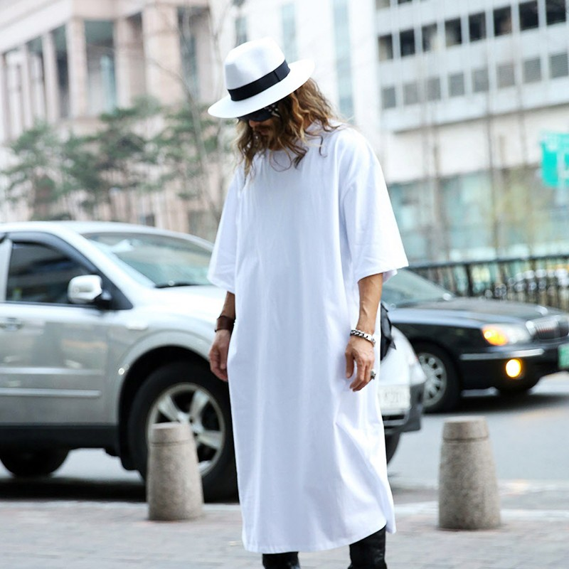 MOGU-Extra-Long-Tee-Shirts-For-Men-O-Neck-Extra-Long-Line-Tops-Tees-Solid-White-Color-T-shirt-Men-Bi-32372823985
