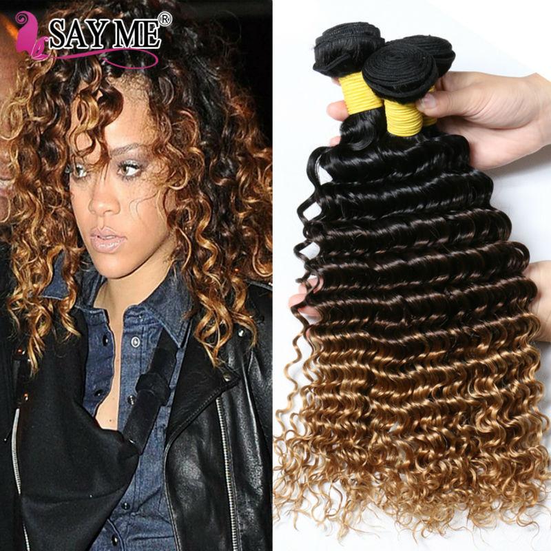 Malaysian Deep Wave Blonde Ombre Curly Malaysian Virgin Hair 4