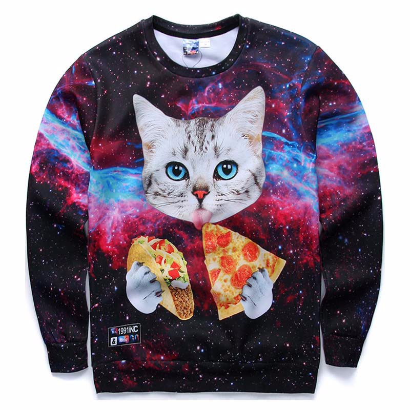 Mr1991INC-New-Galaxy-3d-sweatshirts-for-menwomen-casual-hoodies-funny-print-stars-night--cat-eating--32412316765