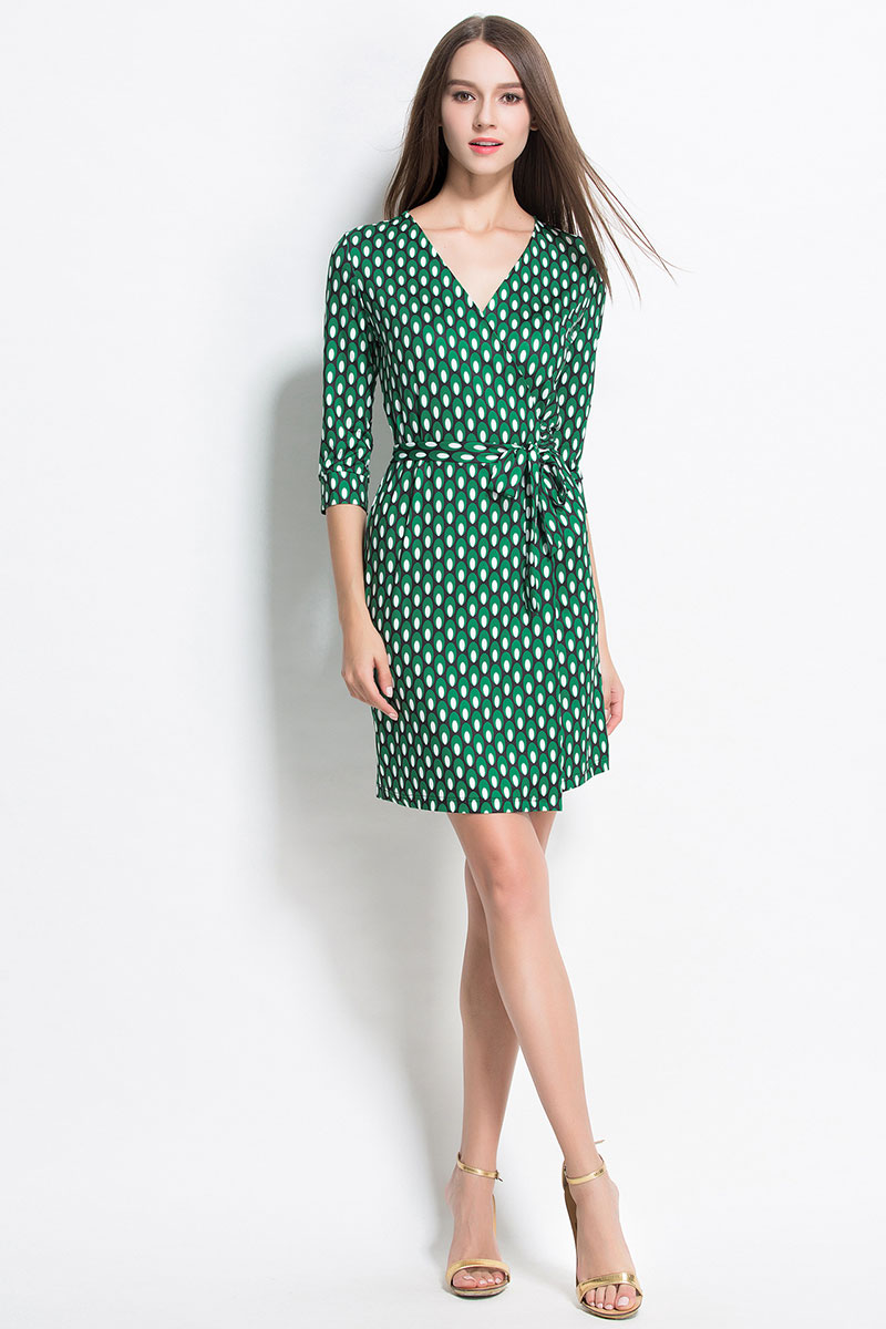 New-2016-Women-Fashion-Wrap-Dress-V-Neck-Cropped-Sleeve-belted-Dots-Print-Dress-Waistband-Split-Shea-32735242622