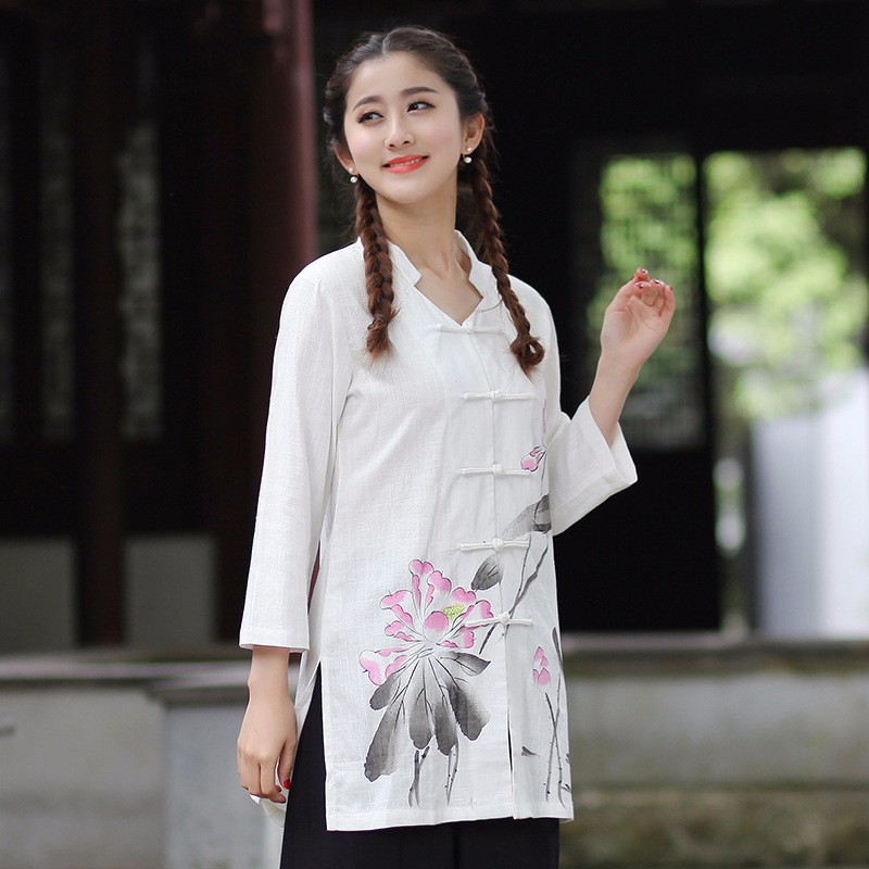418456dda New Arrival Chinese Traditional Women Cotton Linen Shirt Spring ...