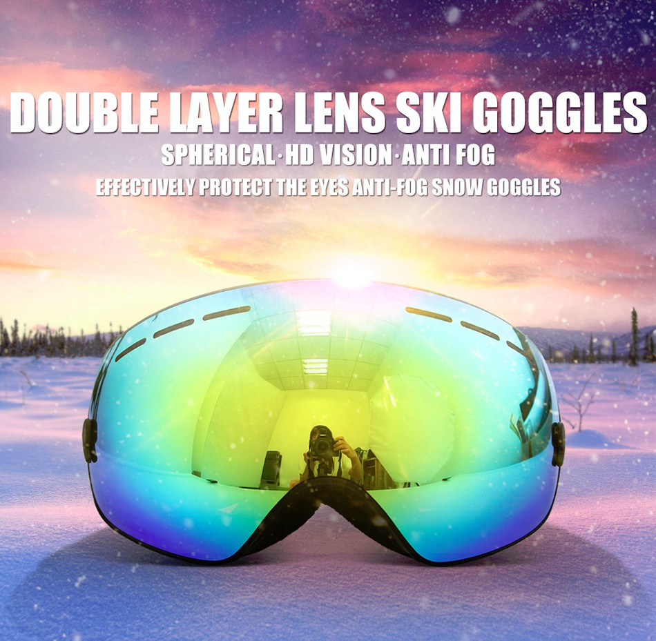 88abf2d34635 New COPOZZ brand ski goggles double layers UV400 anti-fog big ski ...
