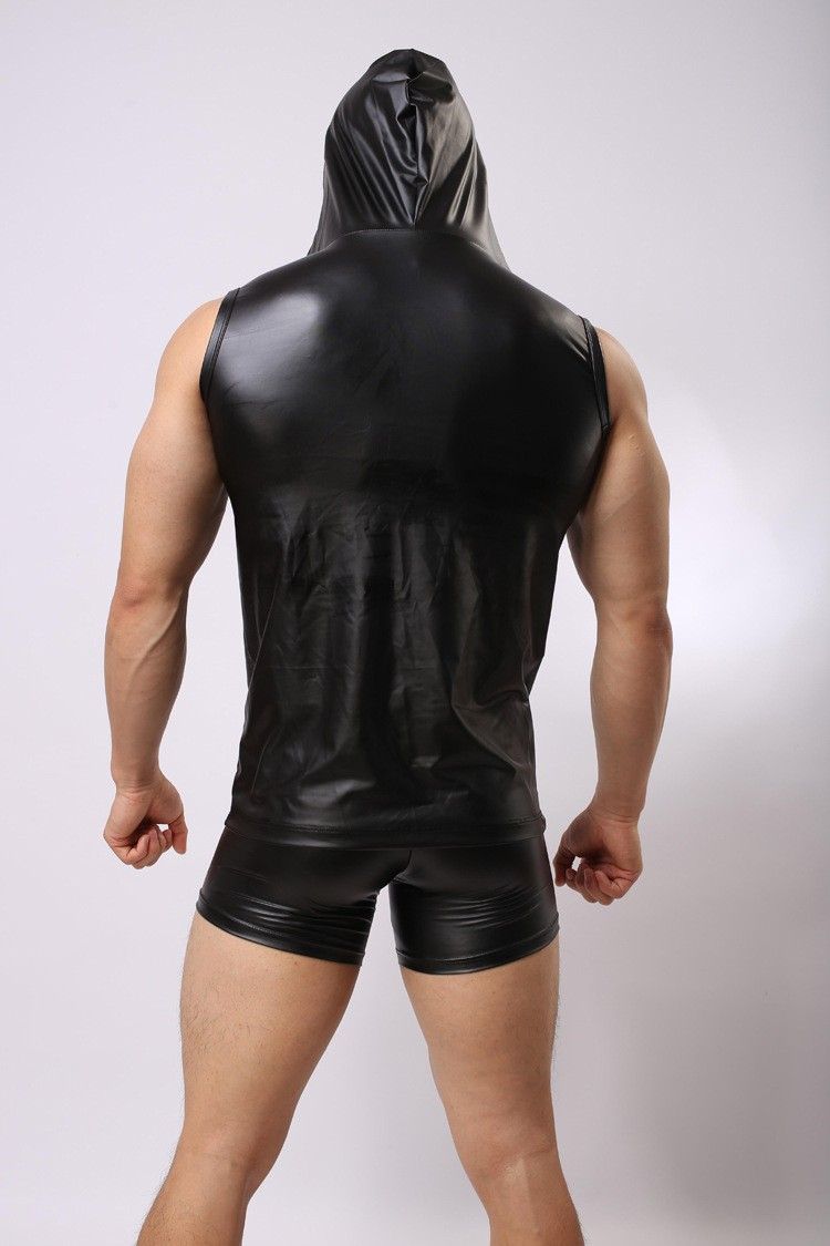 New-Sexy-PU-Faux-Leather-T-Shirts-Hooded-Cool-Men-Night-Tight-Shirts-Leather-Slim-Shirt-Vest--High-Q-32704133989