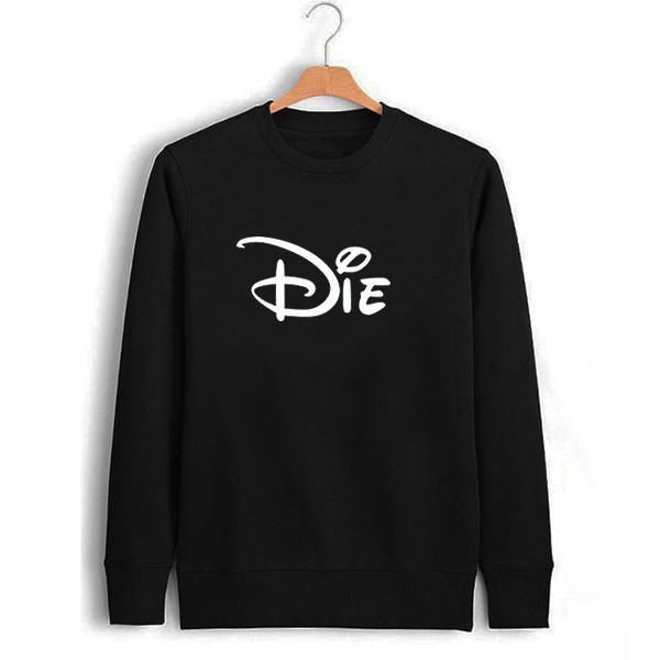 d1509111fc Novel Creative Die Letter Print Black Mens Sweatshirt Men Novelty ...