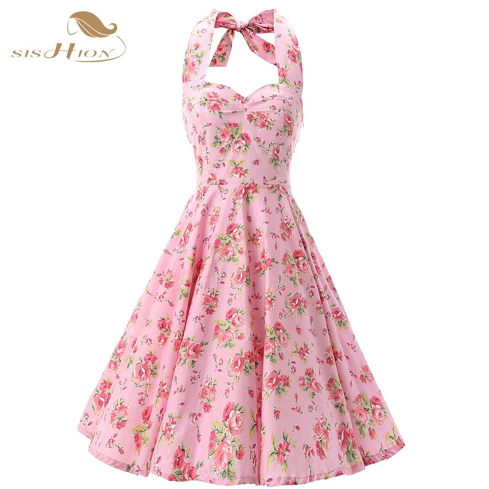 e2283718519 Pink Women Dress Rockabilly Floral Print Retro Vintage 60s Sexy ...