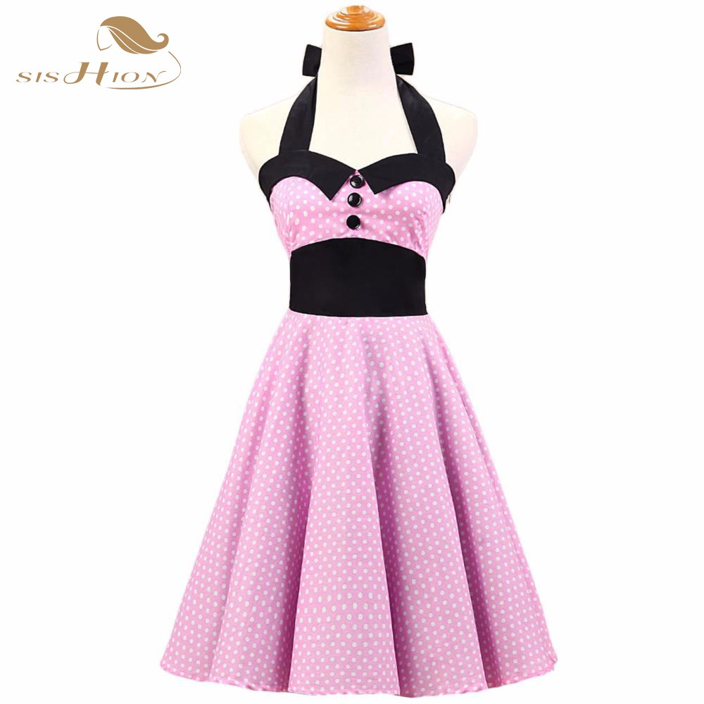 SISHION Halter Pink Dress Plus Size Women Summer Dresses Short Rockabilly  Swing Retro Vintage Dress Pin Up Rock Girl Dot VD0146