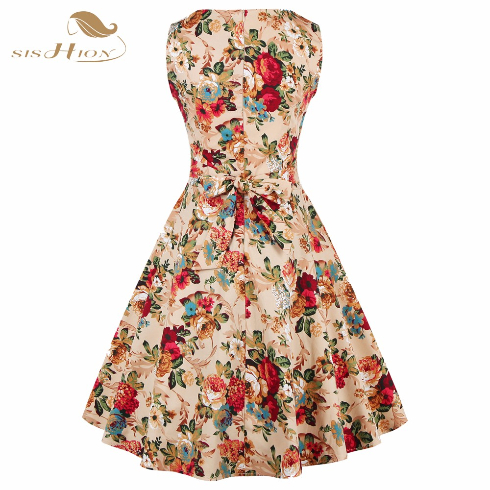 SISHION Print Floral Dress Women Ladies Plus Size Flower ...