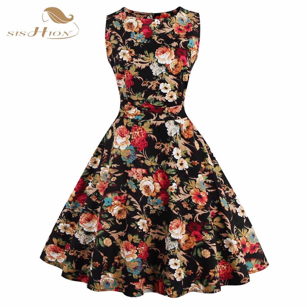 SISHION Print Floral Dress Women Ladies Plus Size Flower Pattern ...