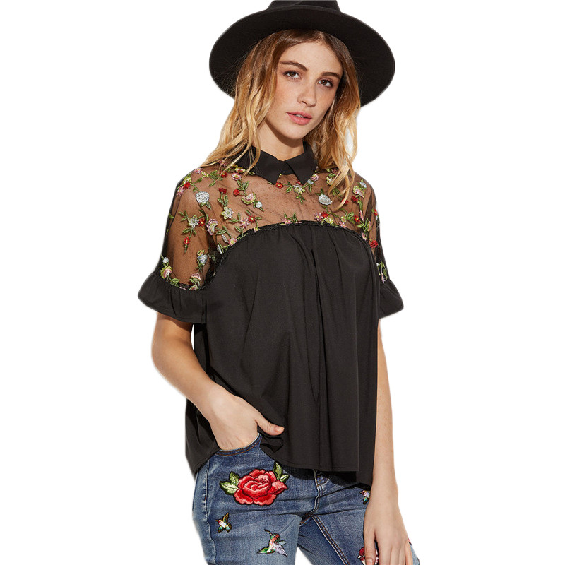 SheIn-Summer-Tops-Black-Flower-Embroidered-Sheer-Neck-Ruffle-Cuff-Tie-Back-Top-Woman-Short-Sleeve-Vi-32797583418