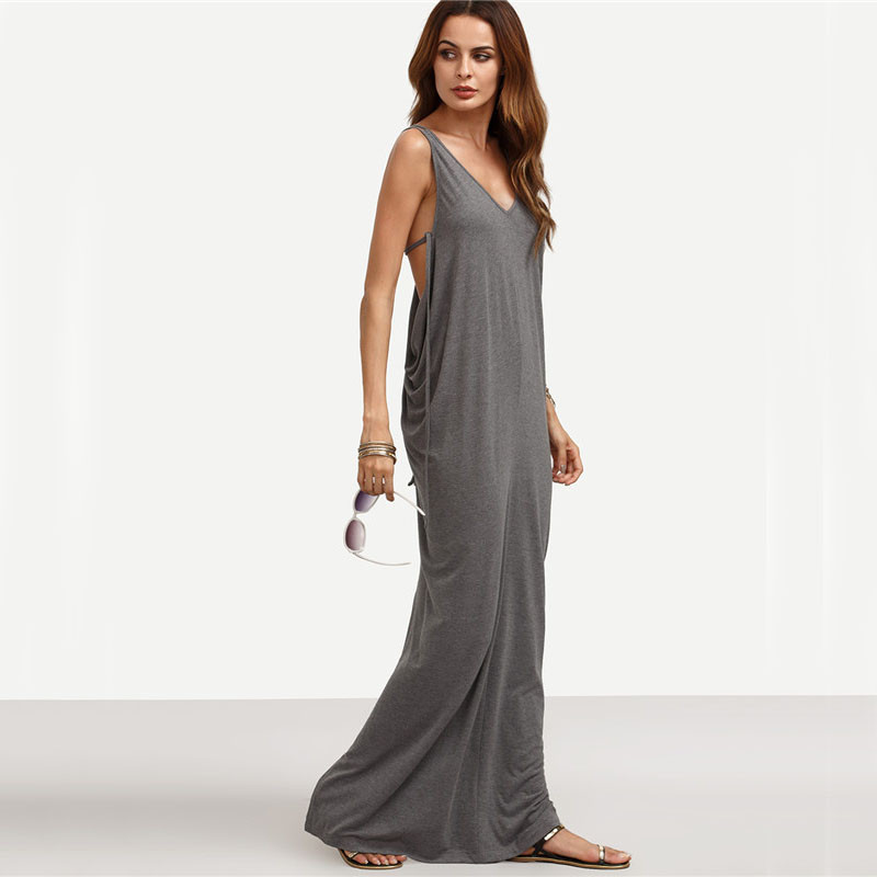 SheIn-Womens-Sexy-Long-Dresses-Summer-Ladies-Plain-Grey-Sleeveless-V-Neck-Backless-Cut-Out-Split-Shi-32698087182