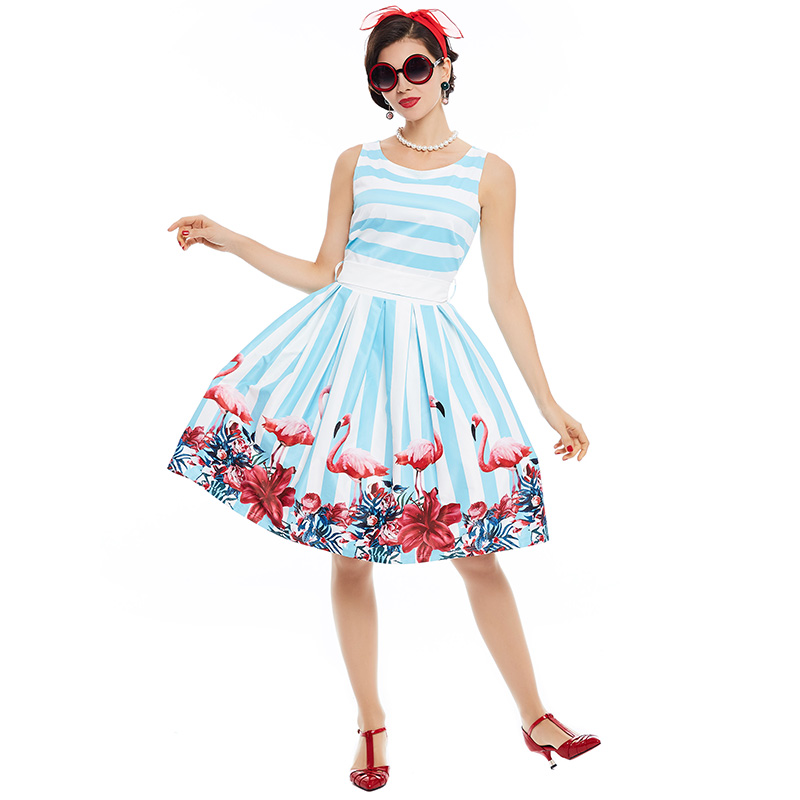 Sisjuly-women-pin-up-vintage-dress-floral-print-rockabilly-bow-belt--dresses-blue-white-stripe-summe-32799322339