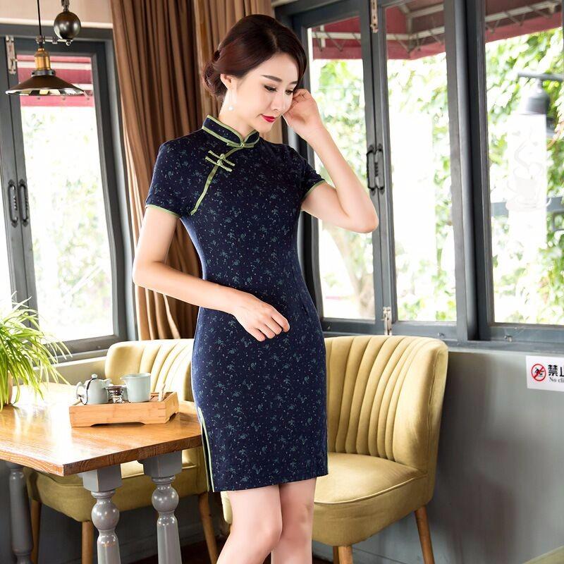 9789045f1 Summer Stylish Mini Cheongsam Chinese Ladies Elegant Linen Cotton ...