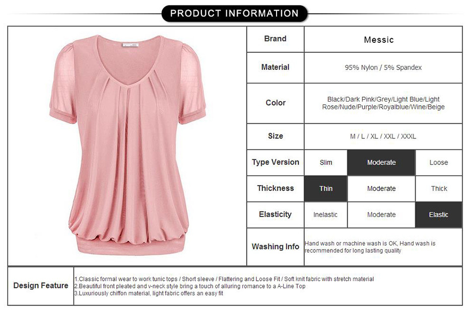 Summer-Tops-Women-Short-Sleeve-V-Neck-Dressy-Tunic-Tops-Front-Pleated-Classic-T-shirt-Candy-Color-Wo-32792648868