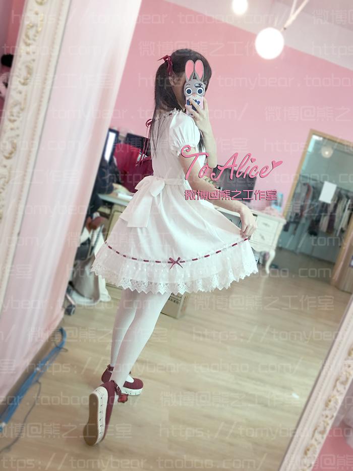 Super Cute Girls White Lace Dress Red Ribbon Big Bow Short