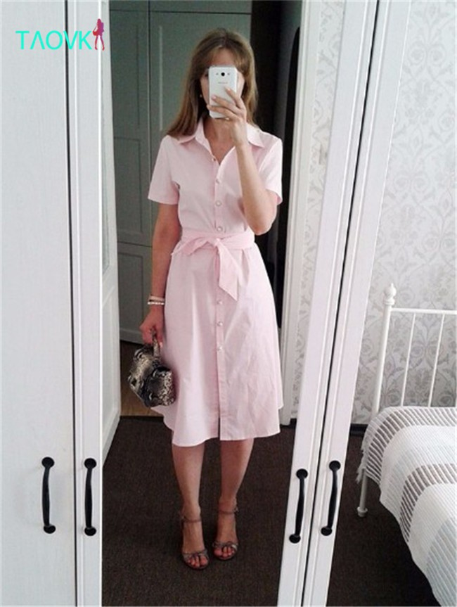 TAOVK-Russian-style-design-new-2016-women-Summer--dress-Pink-long-section-pink-dress-shirt-collar-si-32697645093
