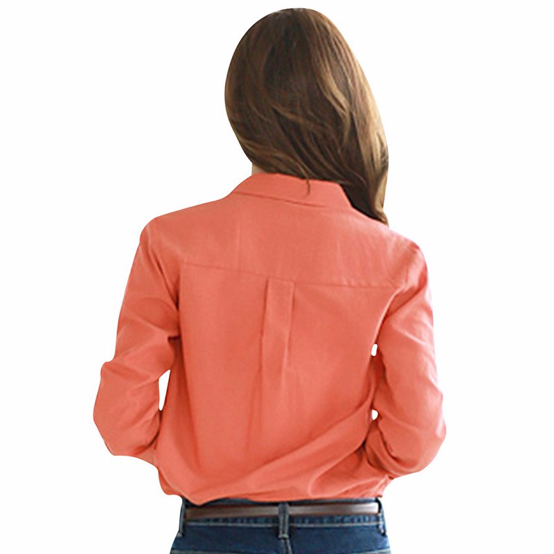 TLZC-Lady-Casual-Shirts-Orange--Blue-Color-Women-Fashion-Blouse-Size-S-2XL-Women-Tops-Turn-Down-Coll-32634722474