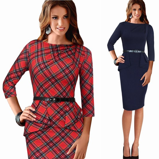 Women-Wear-To-Work-Office-Dress-Knee-Length-Decorate-Ruffle-Three-Quarter-Sleeve-Sheath-Party-Plaid--32576105196