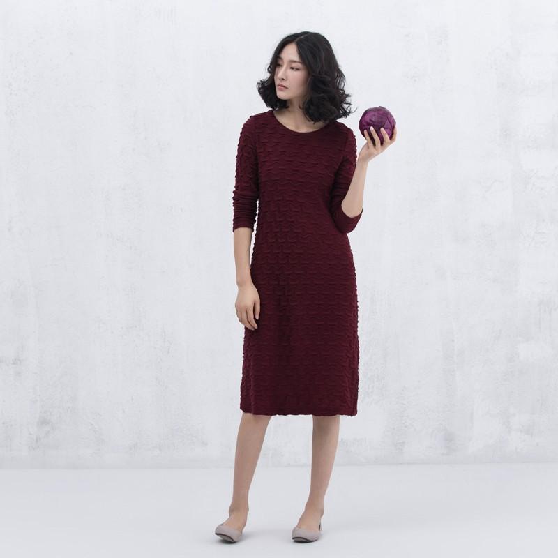 Xianran Women Knit Dress Wave Long Bottoming Dress Casual Plus Size