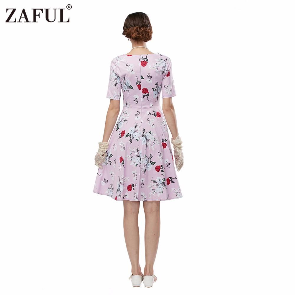 Zaful Women Plus Size Clothing Audrey Hepburn 50s Vintage Flower