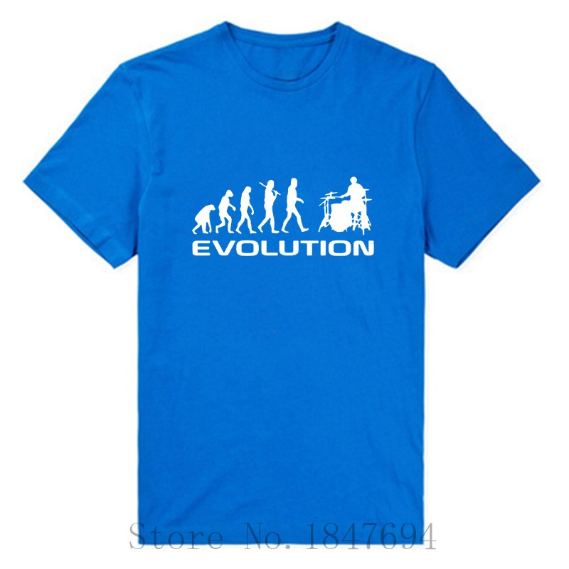 summer-Mens-T-shirt-Bodybuilding-Undershirt-Fitness-Men-Drummer-Evolution-Funny-Music-humor-Drums-T--32570855134
