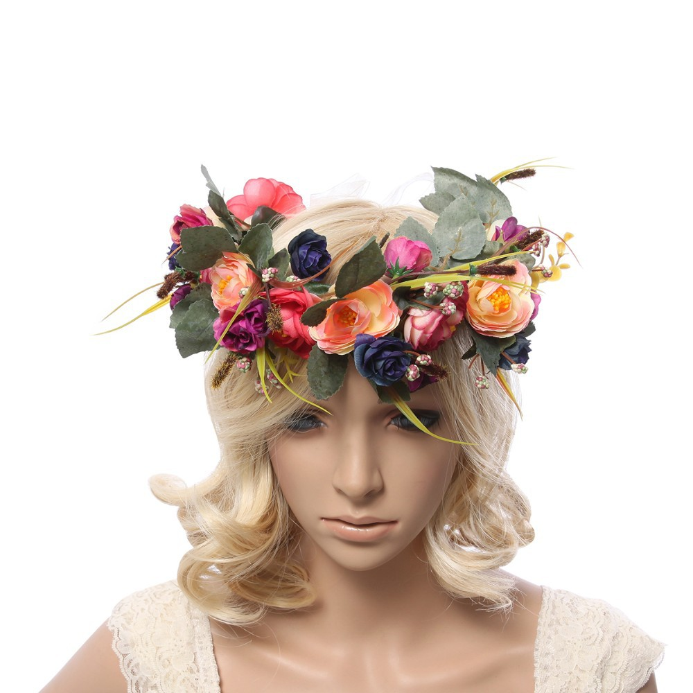 Women Flower Crown Flower Garland Headpiece For Wedding Festivals