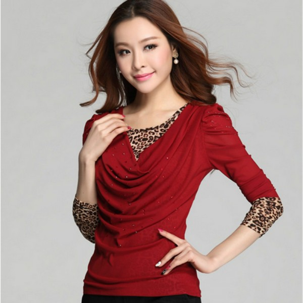 2016 New Arrival  Autumn and Winter Plus Size Women shirt Korean Fashion Thin False Two Cover Belly Leopard Lace Shirt 104J 25