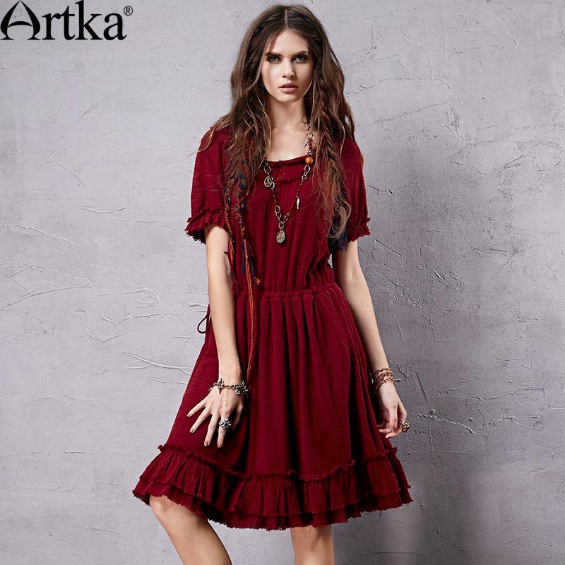 Artka Women's Retro Ethnic Red Dress 2015 Cool Summer New ...