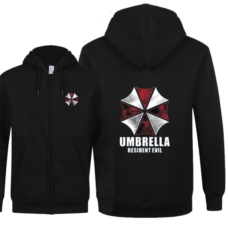 Fashion New Resident Evil Sweatshirts Anime Umbrella Hooded Zipper Men Hoodies And Sweatshirts Free Shipping Coat