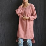 O-neck Long sleeve Cotton Women Long Blouse Shirt Plus size Loose Casual Shirt Solid White Red Pink Women Blouse Tops Femme C022