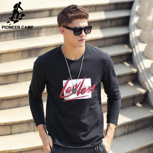 Pioneer Camp T Shirt Men Long Sleeve 2017 New Spring Brand Clothing high quality Round Neck Graffiti male Tshirt 677105
