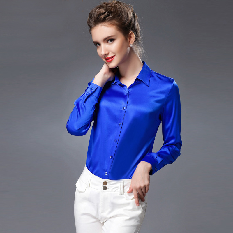 b9db77c322582 Popular Pure Mulberry SILK blouse Women long sleeve work Brand Solid AZ43