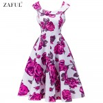 ZAFUL Brand Women Vintage Dress Pink Floral Big Size S~2XL 60s Swing Feminino Vestidos O Neck Sleeveless Party Rockabilly Dress