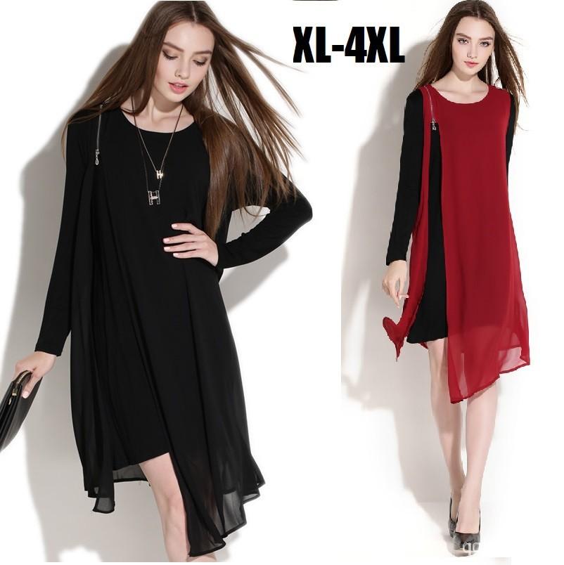 2015european Women Long Sleeve Chiffon Dress Irregular Hem Spring Large Size Oblique Zipper Asymmetrical Faux Two Vestidos Xxxxl